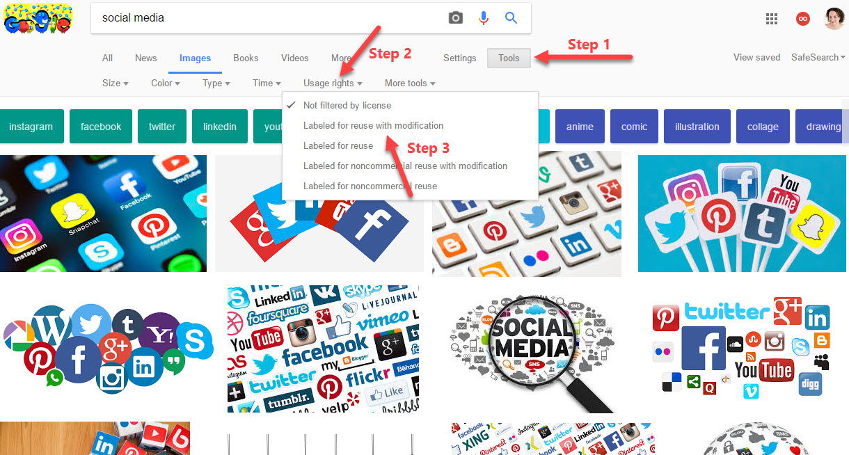 how to find FREE images on Google
