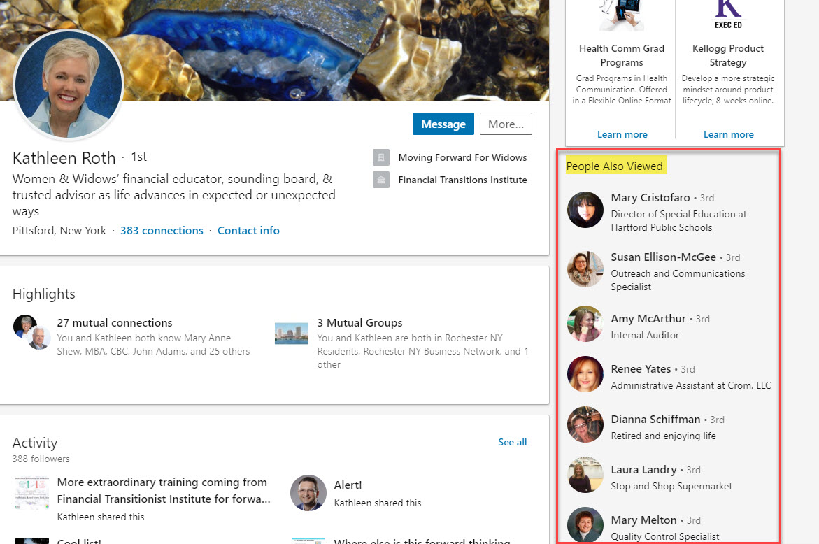 LinkedIn People Also Viewed Feature